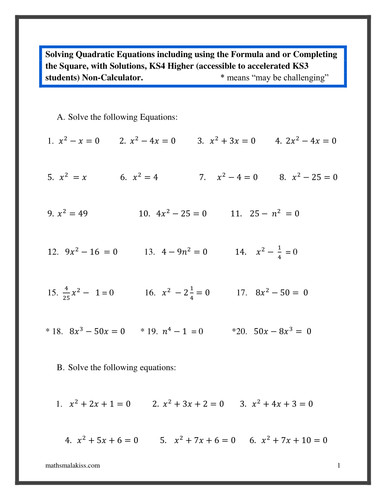 Quadratic equations KS4 Higher with solutions by hassan2008 Teaching Resources Tes
