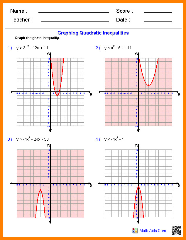 graphing quadratic functions worksheetgebra2 graphing quadratic inequalities