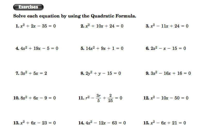 Printables Quadratic Formula Worksheet algebra two assignment 5 6 the quadratic formula and discriminant screen shot