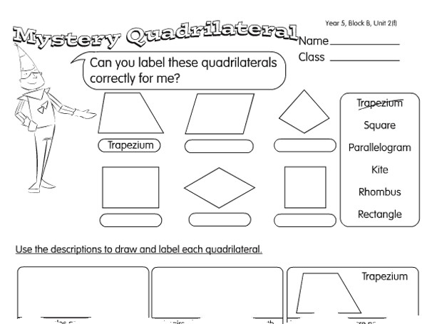 Preview of Quadrilateral Quiz A year 4 2D shapes worksheet