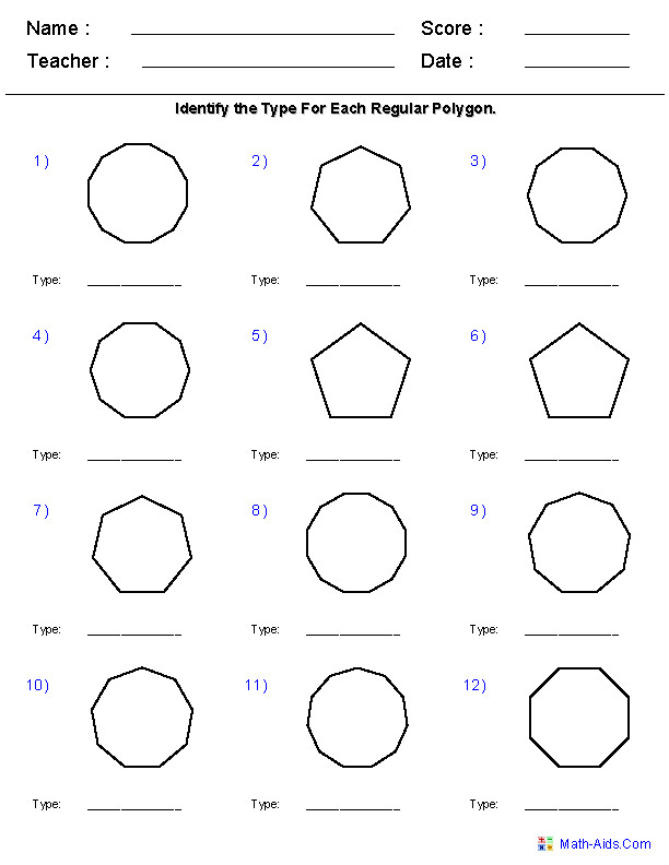 Identify Polygons Worksheets