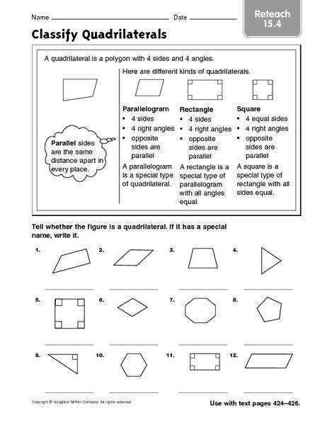 Worksheets Special Quadrilaterals Worksheet classifying quadrilaterals worksheet fireyourmentor free worksheets classify reteach 15 4 3rd 4th