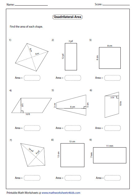 mon Worksheets Area Quadrilaterals Worksheet Area