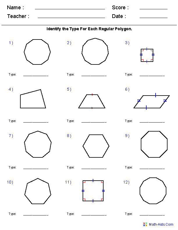 Identify Quadrilaterals and Polygons Worksheets