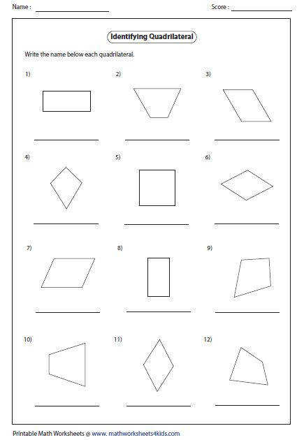 Image result for quadrilateral worksheets math Pinterest