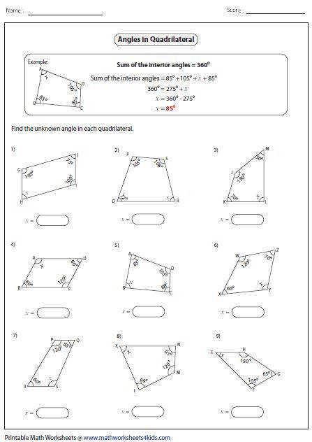 Worksheets contain area and perimeter of quadrilateral such as parallelogram trapezoid kite and rhombus missing angles identifying types and more