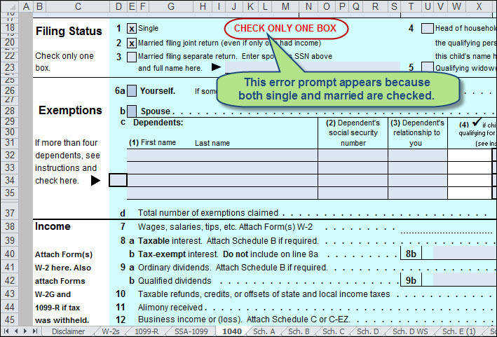 Use Excel to File Your 2014 Form 1040 and Related Schedules