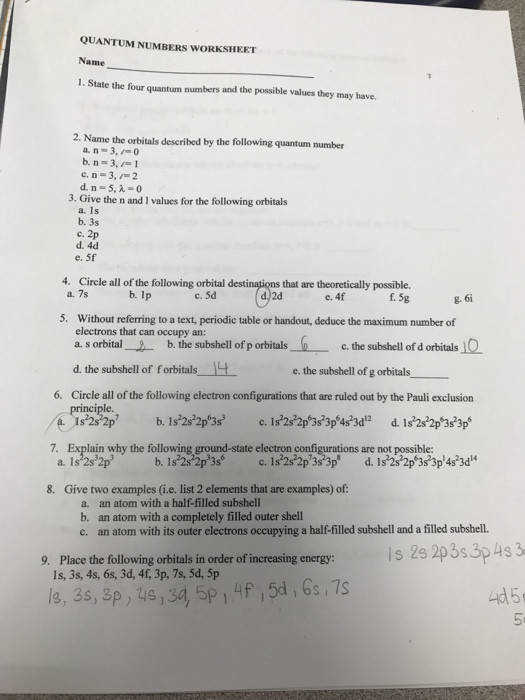 QUANTUM NUMBERS WORKSHEET Name 1 State the four quantum numbers and the possible values they