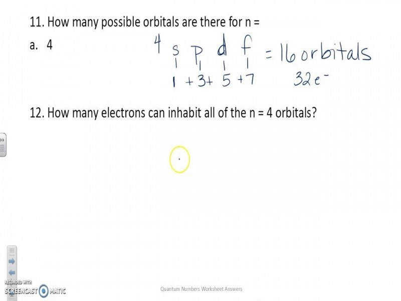 Quantum Numbers Worksheet Answers – Youtube