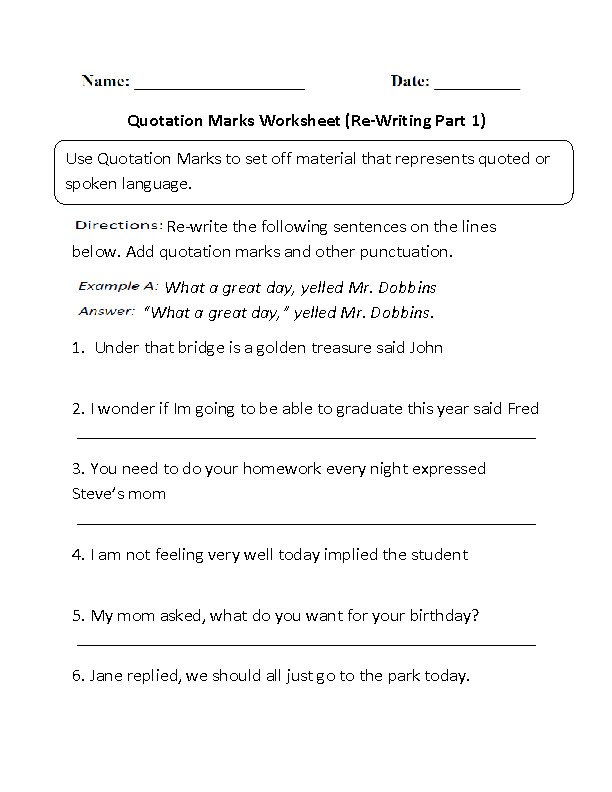 Re Writing Quotation Marks Worksheet