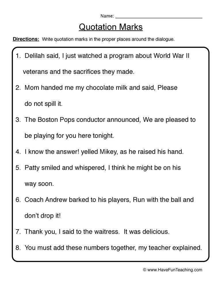 quotations grammar quotation marks worksheet