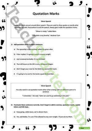 Punctuation Worksheets Upper Elementary