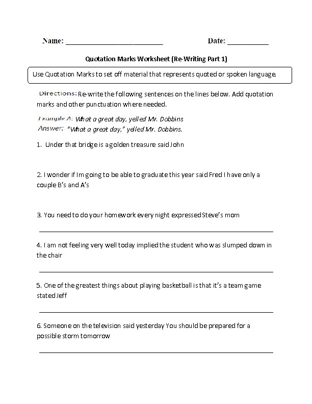 Sentences with Quotation Marks Worksheet