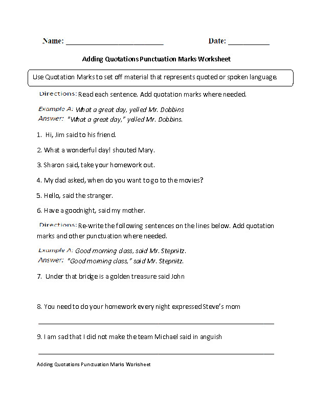 Quotation Marks Punctuation Worksheet