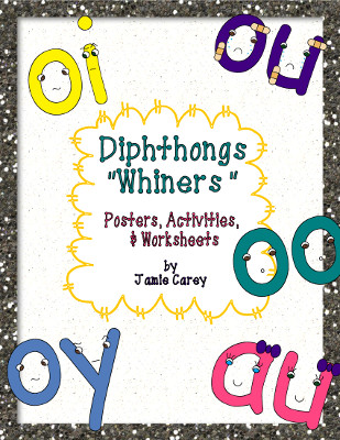 "I finally finished my Diphthong ""Whiners"" Posters Activities and Worksheets packet Yay Actually I m almost finished with my R Controlled Vowels ""Bossy"