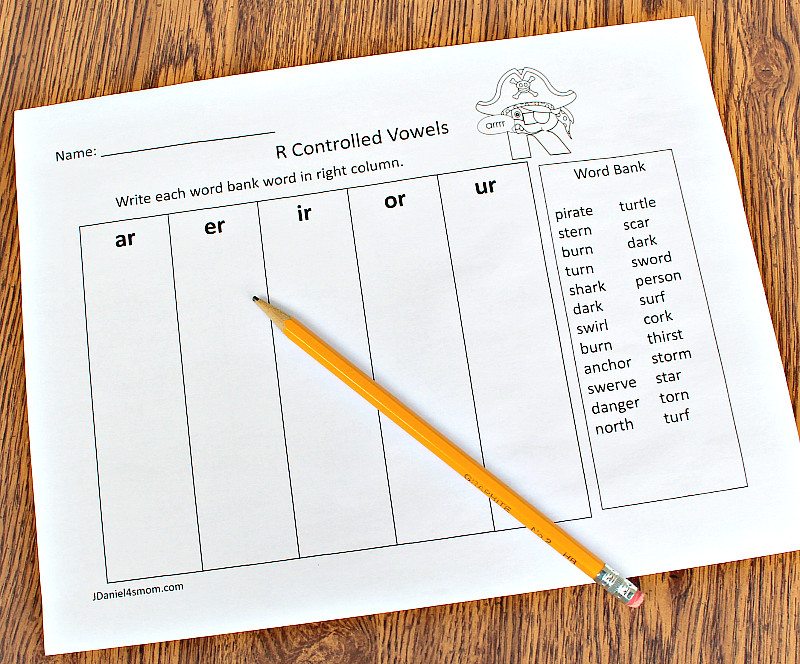 R Controlled Vowels Printable Activities Set Five Column Word Sort