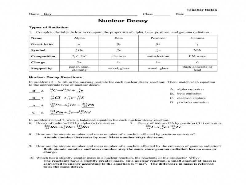 Worksheet – Radioactive Decay Fission Fusion Key – Guillermotull