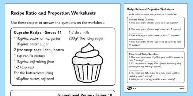 T2 M 214 Recipes Ratio and Proportion Worksheets ver 2