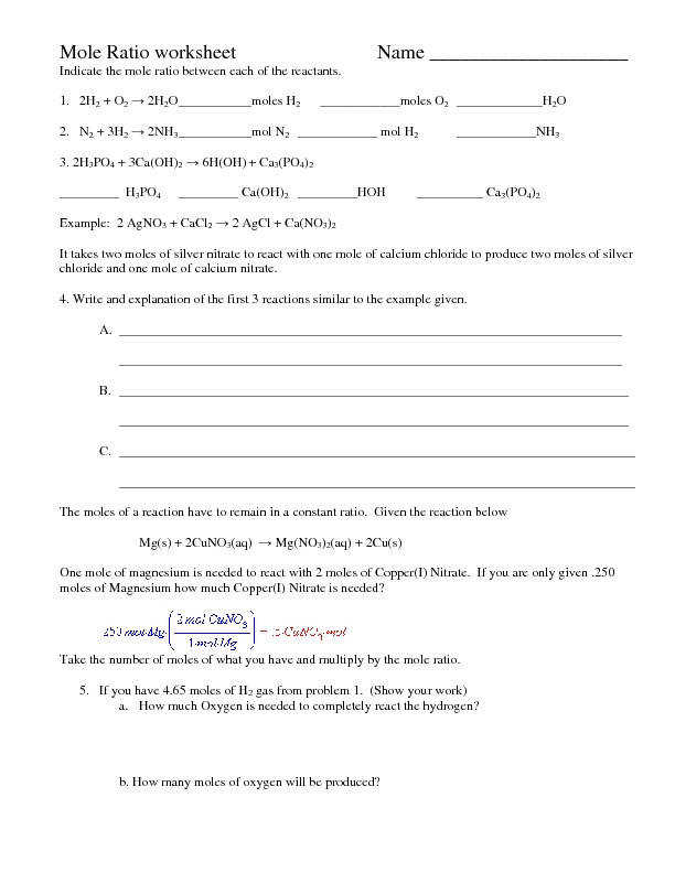 Mole Ratio Worksheet Templates and Worksheets