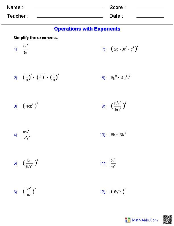Exponents Worksheets