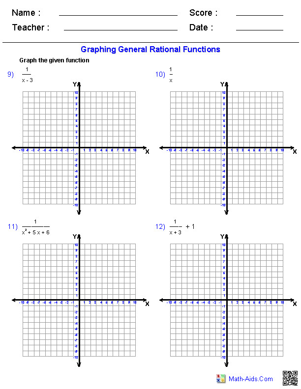 Graphing General Rational Functions Worksheets
