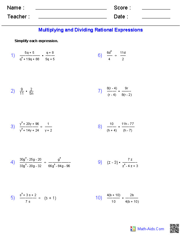 Rational Expressions Worksheet