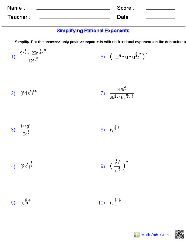Simplifying Rational Exponents Radical Functions Worksheets
