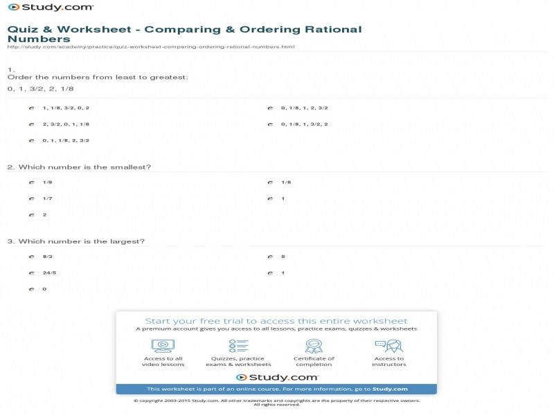 Quiz & Worksheet – paring & Ordering Rational Numbers