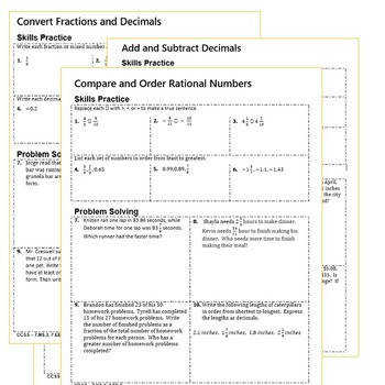 RATIONAL NUMBERS Homework Practice Worksheets Skills Practice & Word Problems