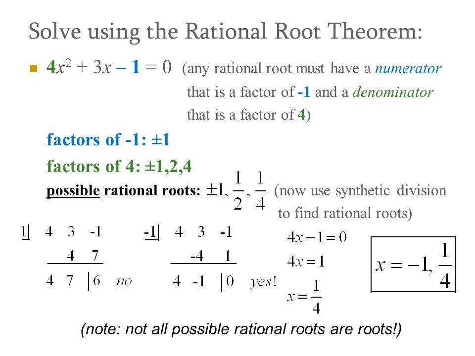 Manual Rational Root Theorem Rational Root Theorem Suppose That