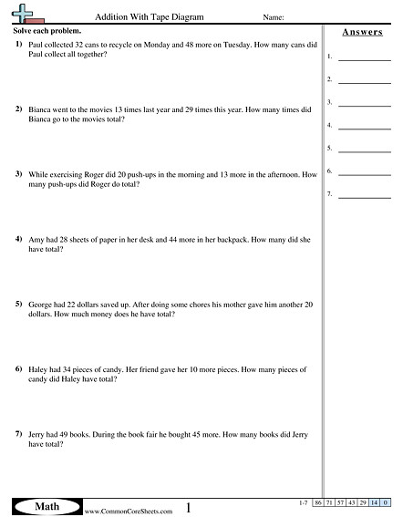 Addition With Tape Diagram worksheet