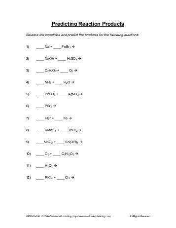 Six Types of Chemical Reaction Worksheet Six Types of Chemical