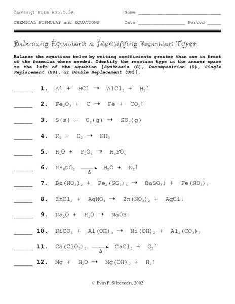 Balancing Equations and Identifying Reaction Types 9th 12th Grade Worksheet