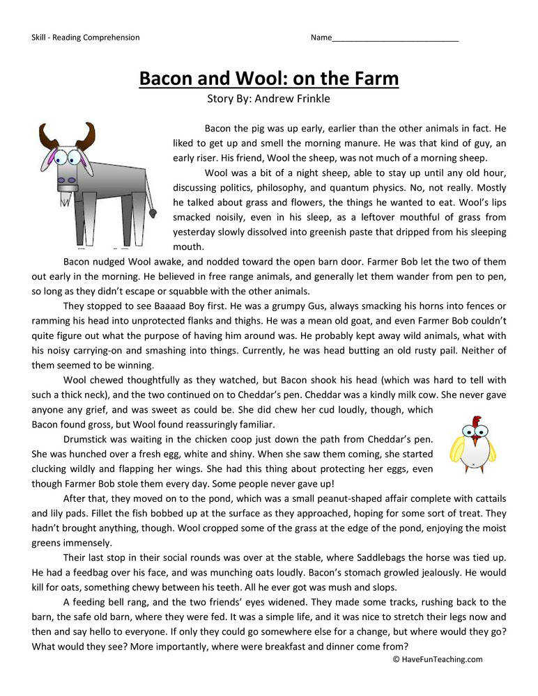 Bacon and Wool the Farm Third Grade Reading prehension Worksheet