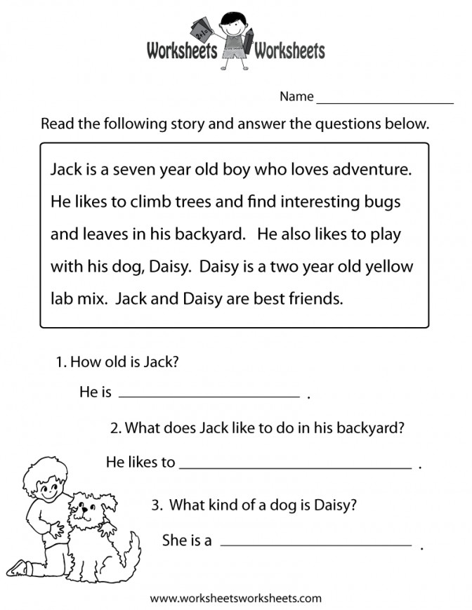Worksheets Printable Free First Grade Reading Simple prehension For Kindergart Reading prehension Worksheet For Kindergarten Worksheet