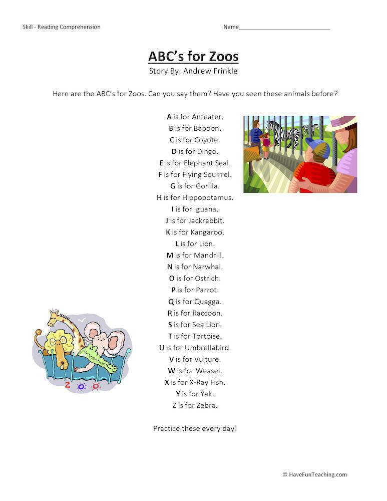 ABCs for Zoos Reading prehension Worksheet