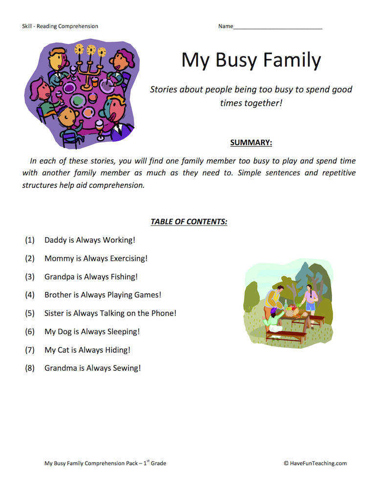 My Busy Family – Reading prehension Test Collection