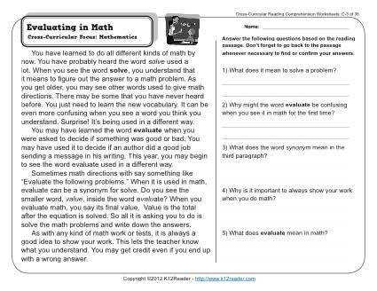 About this Worksheet Week 3 Reading prehension