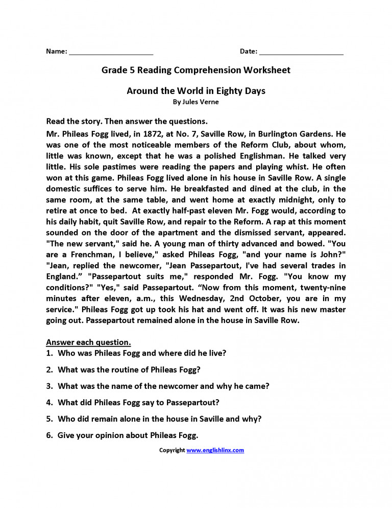 4th And 5th Grade Reading prehension Worksheets