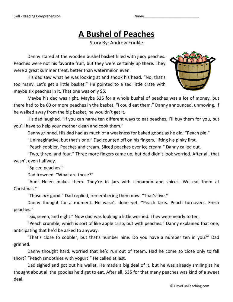Bushel of Peaches – Reading prehension Worksheet