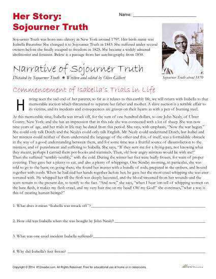 Free Reading prehension Activity Narrative of Sojourner Truth