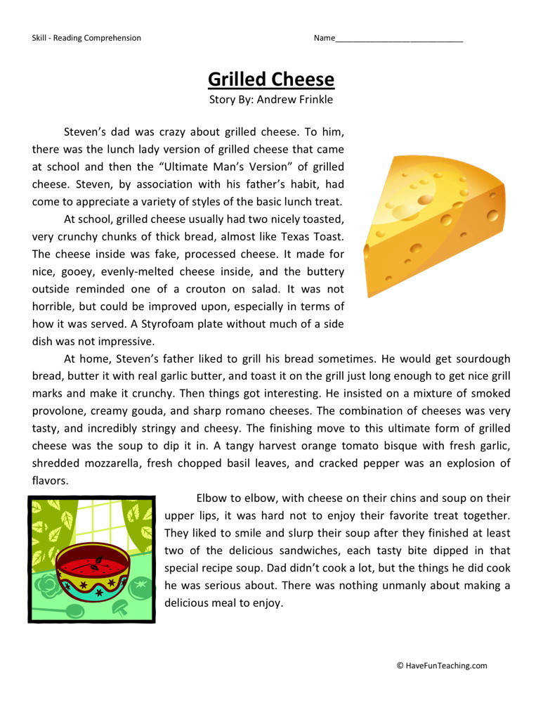 Reading prehension Worksheet Grilled Cheese Sixth Grade