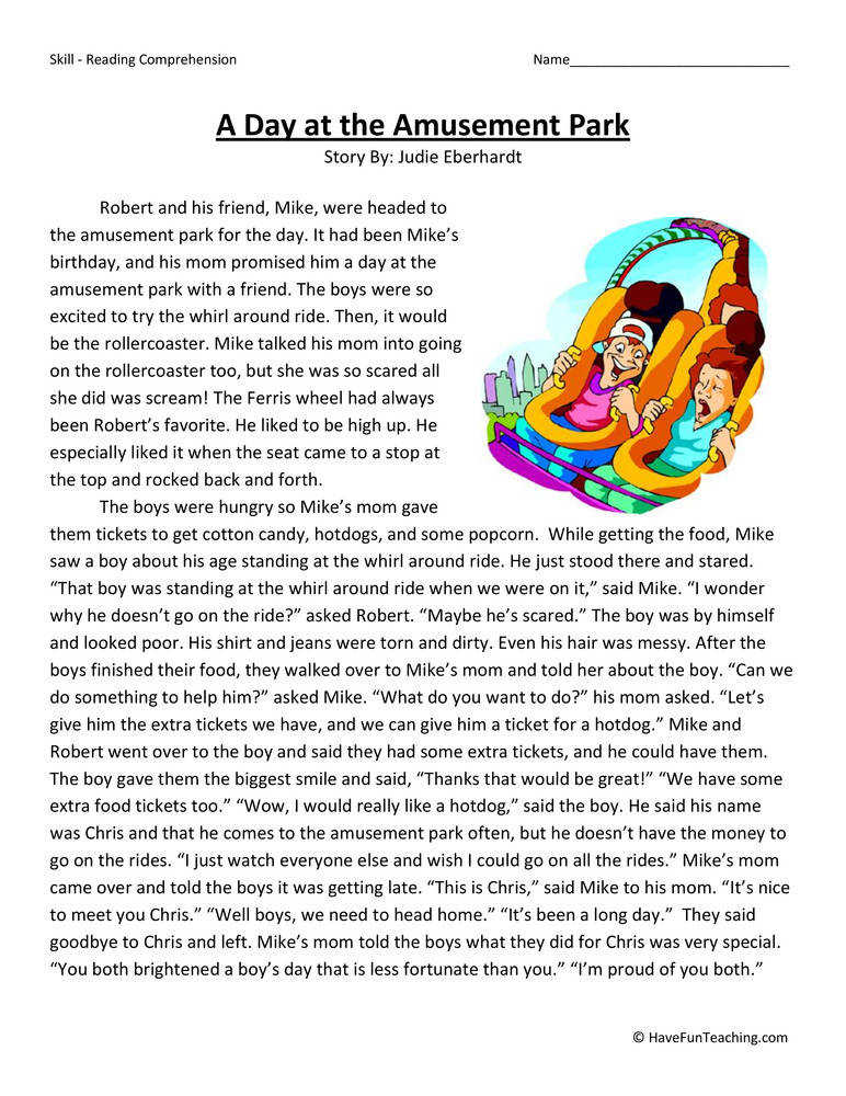 A Day at the Amusement Park – Reading prehension Worksheet
