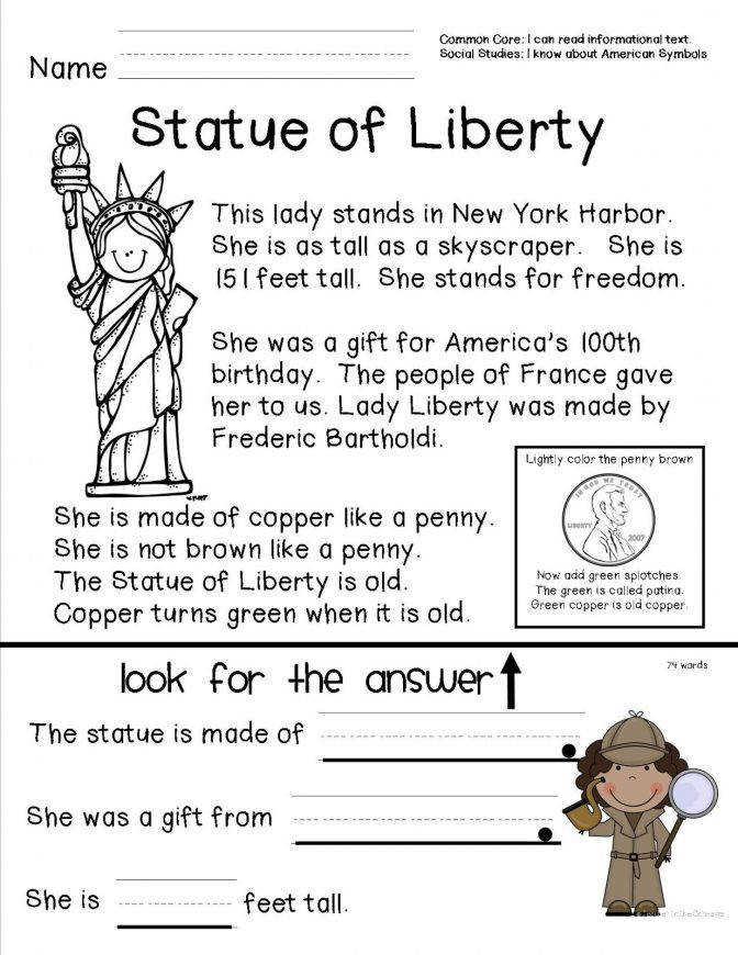 Reading prehension Sheet About The Statue Liberty For Fb15d48a8abf94e556bbd9c9ac4 Reading prehension Worksheets For 3rd Grade