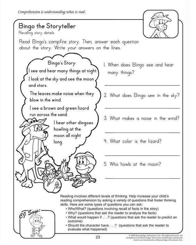 Bingo the Storyteller Free Reading prehension Worksheet for Kids