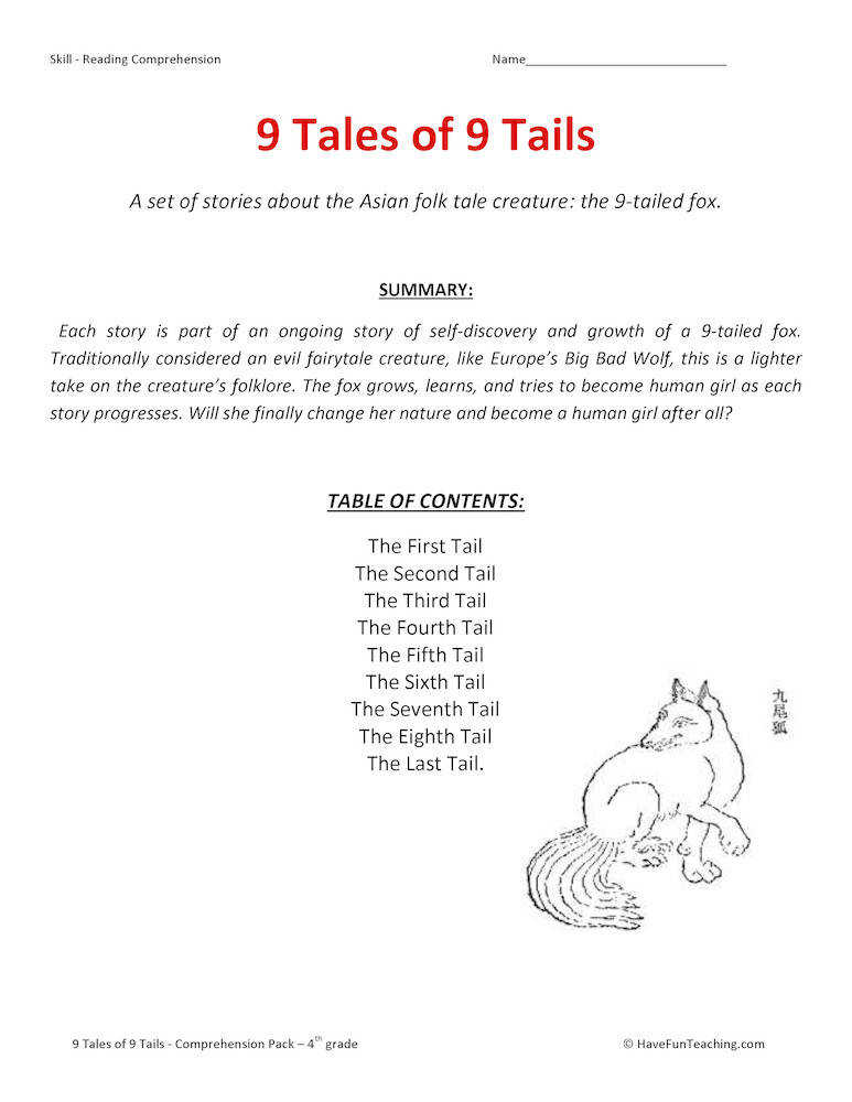 9 Tales of 9 Tails – Reading prehension Test Collection