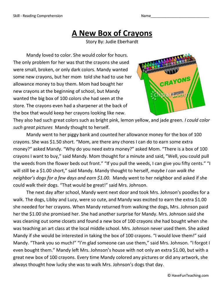 A New Box of Crayons Fifth Grade Reading prehension Worksheet