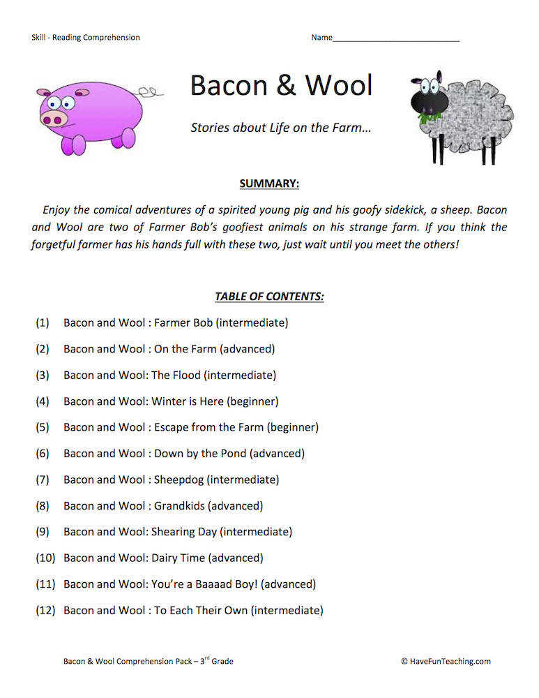 Bacon and Wool Collection Reading prehension Worksheets