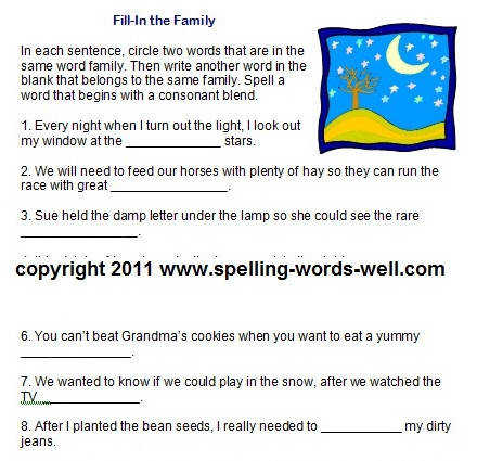 Use this second grade worksheet to provide fun practice with word families and consonant blends
