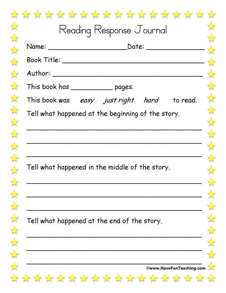 Reading Response Journal – Beginning Middle End